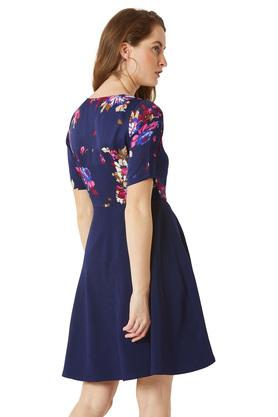 Womens Round Neck Floral Print Skater Dress