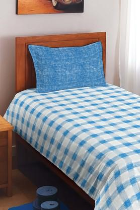 SPACESCotton Check Single Bedsheet With Pillow Cover