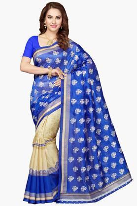 ISHINWomen Bhagalpuri Silk Half Half Printed Saree