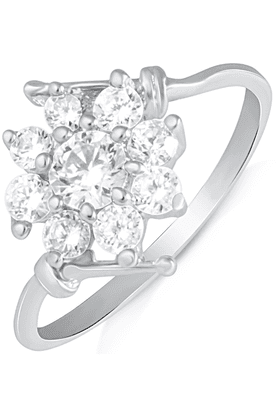 MAHIRhodium Plated Finger Ring With CZ For Women FR1100619R