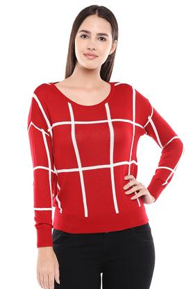 Womens Round Neck Checked Sweater