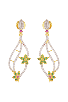 TUAN Gold Plated Dangle Earring With Flower Design -IER-587-Green