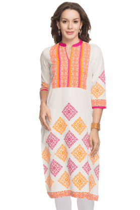STOP Women Regular Fit 3/4th Sleeves Casual Kurta
