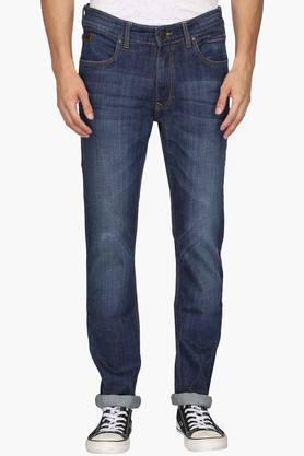 WROGNMens 5 Pocket Slim Fit Mild Wash Jeans