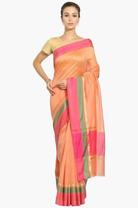 JASHN Women Chanderi Saree With Zari Border - 202444471
