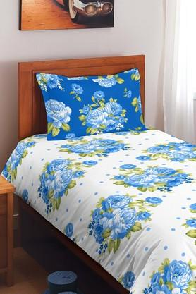 SPACESCotton Floral Single Bedsheet With Pillow Cover