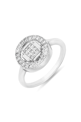 MAHI Mahi Rhodium Plated Square And Round Geometric Fingering With CZ For Women FR1100106R