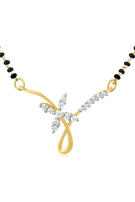 MAHI Gold Plated Mangalsutra Pendant With CZ For Women PS1191430G