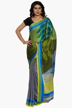 Women Digital Print Crepe Satin Saree With Printed Border