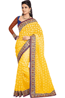 DEMARCA Womens Embroidered Saree (Buy Any Demarca Product & Get A Pair Of Matching Earrings Free) - 200946957