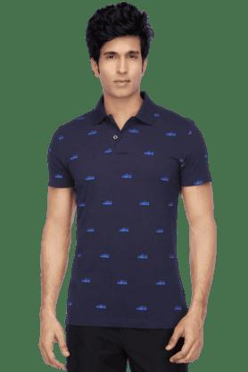 PUMAMens Short Sleeves Slim Fit Polo Neck Printed T-Shirt