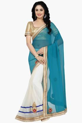 DEMARCA Women Faux Georgette Tissue Designer Saree
