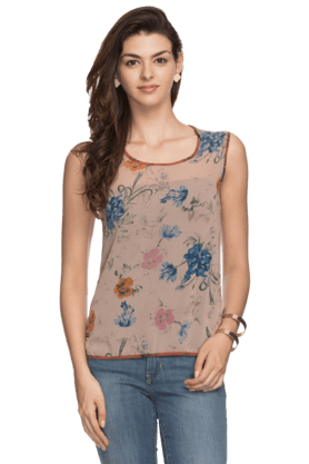 Womens Sleeveless Printed Top