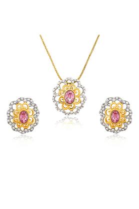 MAHIMahi Gold Plated Pink Paradise Flower Pendant Set Made With Swarovski Elements For Women NL1104125GPinWhi