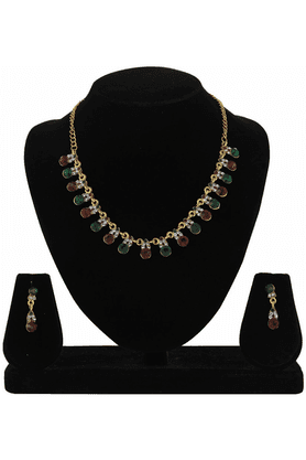 SIA Maroon Green Necklace Set-16541