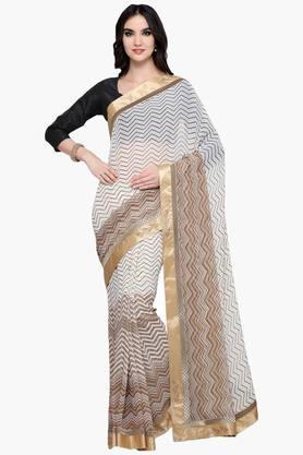 Womens Georgette Aztec Stripe Saree With Blouse Piece