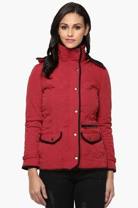 THE VANCA Womens Solid Quilted Hooded Jacket