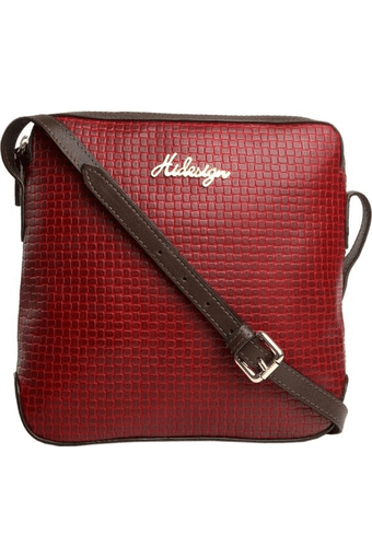 Womens Jakarta Leather Zipper Closure Sling Bag