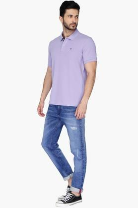 Mens Regular Fit Solid Polo Anti UV T-Shirt