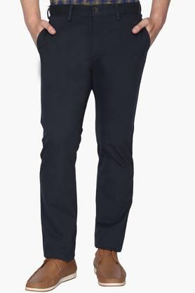 ALLEN SOLLY Mens Regular Fit 5 Pocket Solid Trousers