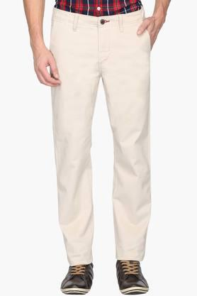 ALLEN SOLLY Mens Slim Fit 4 Pocket Solid Chinos - 202104400