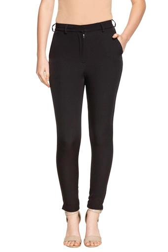 Womens 3 Pocket Solid Trousers