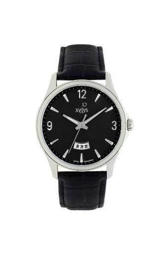 Mens Black Dial Leather Analogue Watch - 40025SL01E