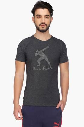 PUMA Mens Short Sleeves Round Neck Solid T-Shirt - 201583886