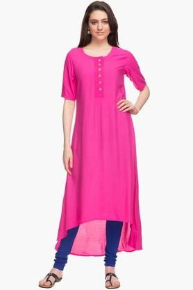 HAUTE CURRY Womens Round Neck Solid Dipped Hem Kurta
