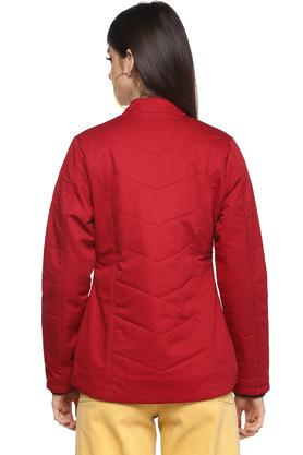 Womens Band Collar Solid Quilted Jacket