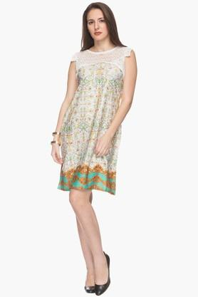 IMARA Womens Round Neck Lace Yoke Printed Tunic