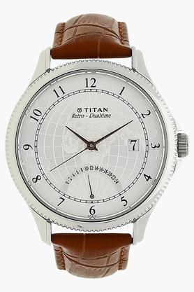 TITAN Mens Analogue Dual Time Leather Watch - 1704SL01