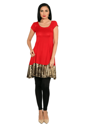 IRA SOLEIL Womens Kurta With Metallic Trim
