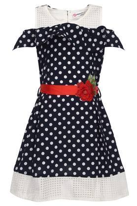 Girls Round Neck Printed Applique Sheer Yoke Flared Dress