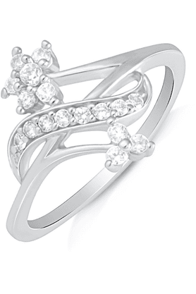 MAHI Mahi Rhodium Plated Blooming Cluster Finger Ring With CZ For Women FR1100614R