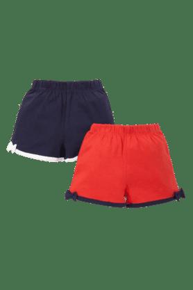 MOTHERCAREGirls Cotton Solid Shorts -Pack Of 2