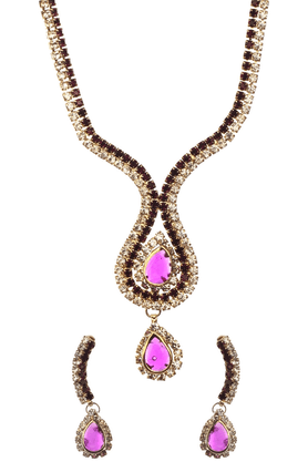 SIA Purple Stone Necklace Set-16535