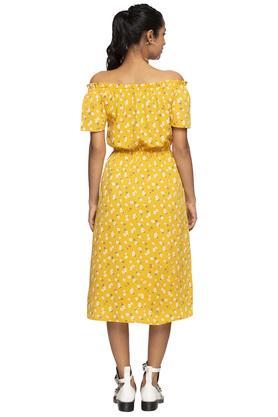 Womens Off Shoulder Printed Midi Dress