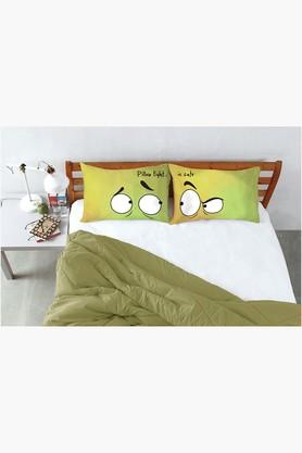 STOA PARIS Yellow Green Pillow Fight Eyes Right Left Bed Linen (Bedsheet Set (King)