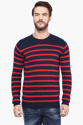 CELIOMens Full Sleeves Round Neck Straight Fit Stripe Sweater