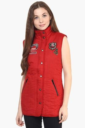THE VANCA Womens Solid Appliqued High Neck Jacket