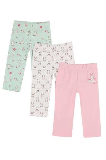 Girls Printed and Solid Pyjamas - Pack of 3