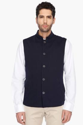 INDIAN TERRAIN Mens Regular Fit Solid Nehru Jacket (Bandhgala Fit) - 201260557