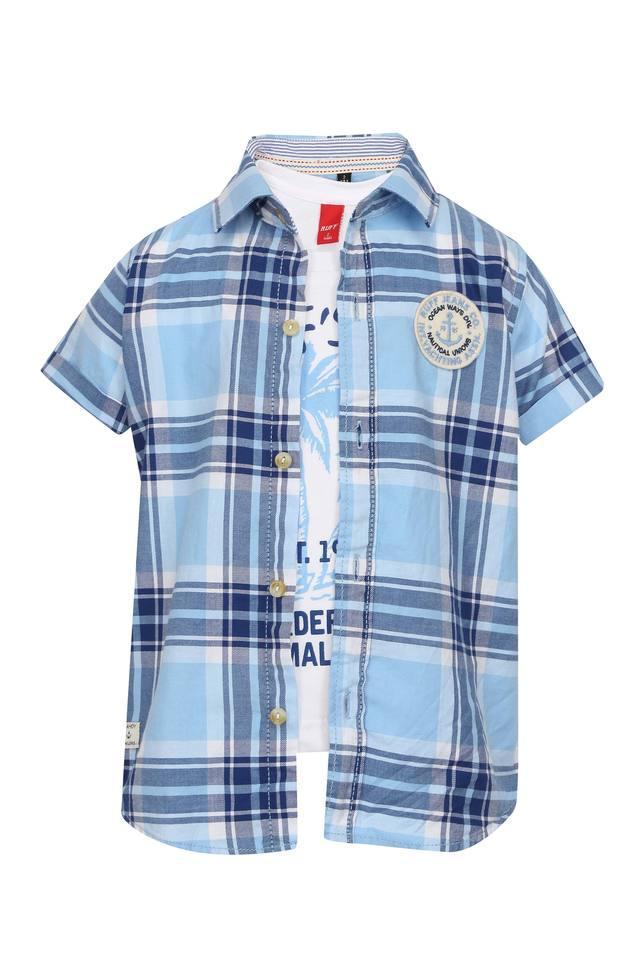 Boys Checked Shirt with Printed T-Shirt