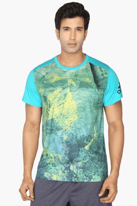 ADIDASMens Round Neck Short Sleeves Printed T-Shirt