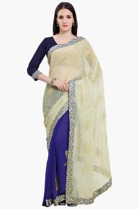 Women Chiffon Half & Half Floral With Lace Embroidered Sareesaree