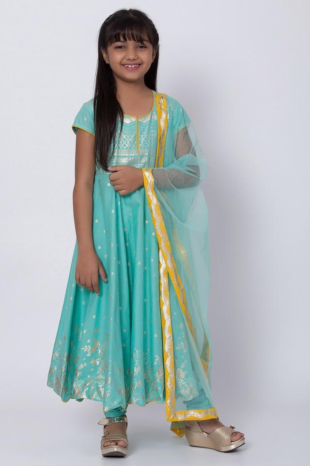 BIBA GIRLS - TurquoiseSalwar Kurta Set - Main