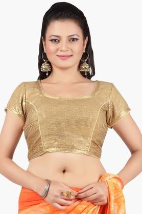 JASHN Women Gold Sequence Blouse With Back Tie-Up