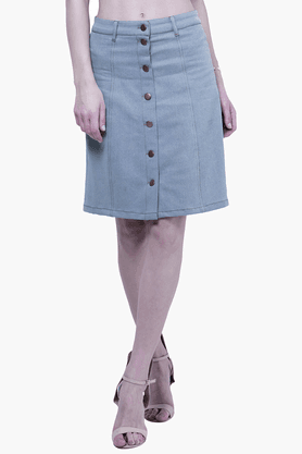 FABALLEY Womens Denim Midi Skirt