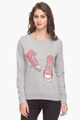 VERO MODA Womens Printed Round Neck Sweatshirt - 201295313